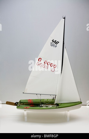 Scale model of a Soling racing Sailboat - Stock Photo