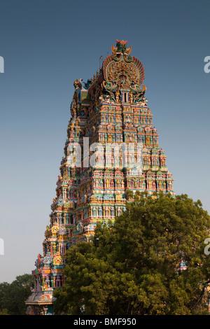 India, Tamil Nadu, Madurai, Sri Meenakshi Temple, newly restored colourful north gopuram - Stock Photo