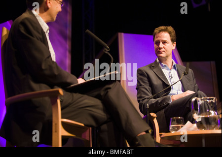 Deputy Prime Minister Nick Clegg MP pictured speaking on stage at Hay Festival 2010 Hay on Wye Powys Wales UK - Stock Photo