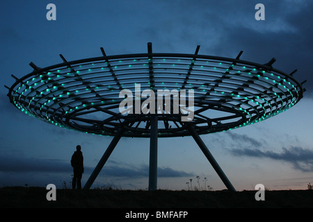 Silhouette of the Halo Panopticon in Rossendale - Stock Photo
