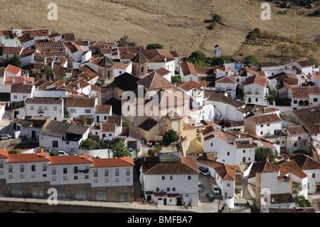 View of whitewashed village (pueblo blanco), Alpandeire, Serrania de Ronda, Malaga Province, Andalucia, Spain, Western - Stock Photo
