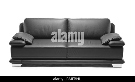 A modern black leather sofa - Stock Photo