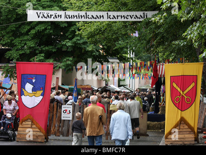 Crowds gather at the medieval market and festival in Turku Finland - Stock Photo
