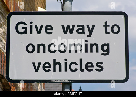 Give Way To Oncoming Vehicles Road Sign Signs  rectangular - Stock Photo