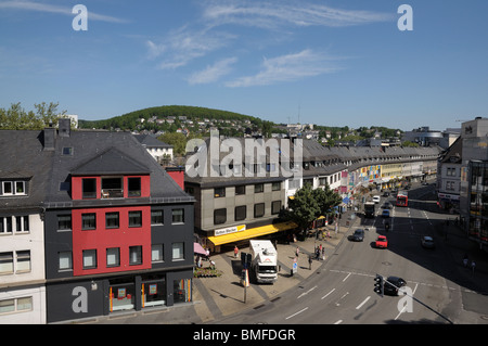 View over town Siegen, North Rhine-Westphalia, Germany - Stock Photo