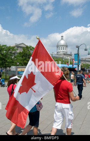 Canadian flag Canada day Montreal - Stock Photo