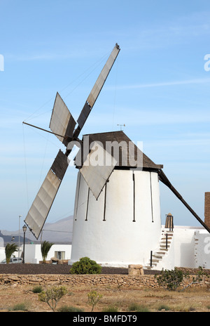 Traditional windmill on Canary Island Fuerteventura, Spain - Stock Photo