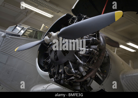 Detail of the propeller and motor of a Junkers Ju 52/3m trimotor plane - Stock Photo