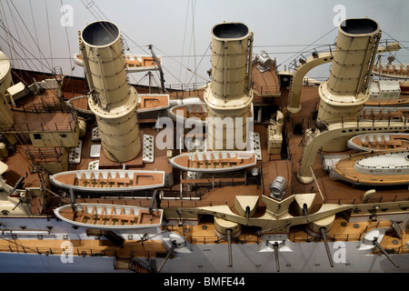 Detail of a maquette of a 1900 warship - Stock Photo