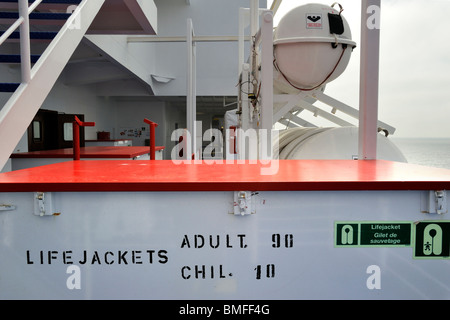Box with life jackets / vests and inflatable liferafts in hard-shelled canisters on board of ferryboat, Europe - Stock Photo