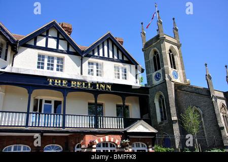 The Bell Inn and St.Mary's Church, Thames Street, Hampton, Greater London, England, United Kingdom - Stock Photo