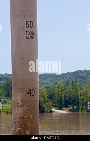 Vevay, Indiana - A concrete post measures the depth of the Ohio River flowing between Indiana and Kentucky. - Stock Photo