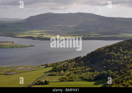 Loch leven and Bishop hill from Benarty hill, Scotland - Stock Photo