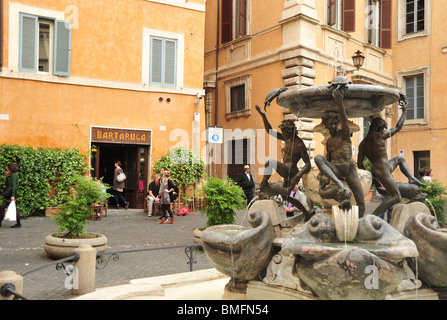 Rome Italy Fontana delle Tartarughe Fountain of the Turtles on Piazza Mattei in Roman (Jewish) Ghetto (Italian: - Stock Photo