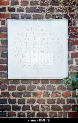 Plaque in Greenwich Park marking site of Montague House and Queen Caroline's Bath - Stock Photo