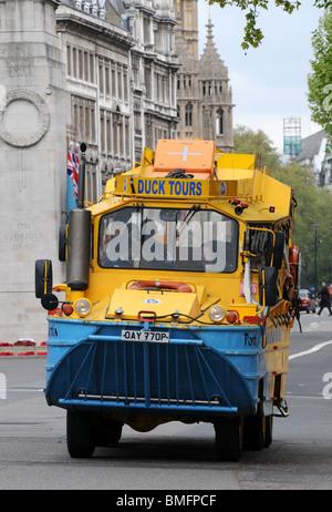 """Duck Tours"" amphibious vehicle on the road, London, Britain, UK - Stock Photo"