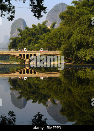 Rural landscape of Yangshuo town outskirts, Guangxi Province, Guilin area, China - Stock Photo