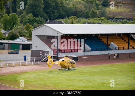 Helimed Preparing for Take Off from Dunoon Sports Ground Dunoon Cowal Argyll & Bute Scotland - Stock Photo