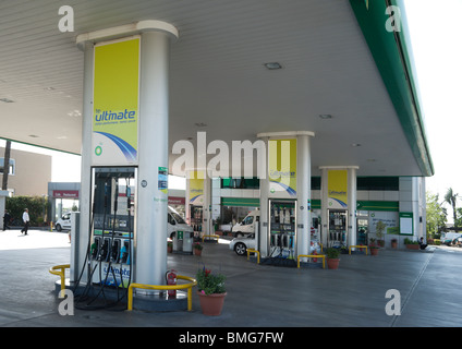 Turkish petrol is the most expensive in the Medierranean region and is all imported - BP filling station in Antalya - Stock Photo