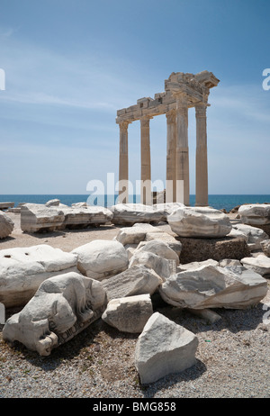 Turkey Antalya - Side, the Temple of Apollo which was built in Corinthian style using marble imported from Greece - Stock Photo