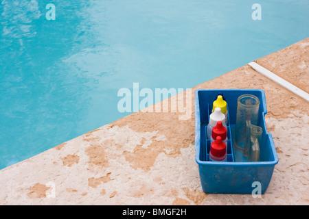 PH testing kit for swimming pool. - Stock Photo