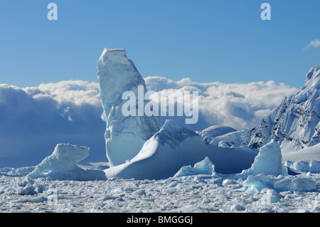 Icebergs near Antarctic base Almirante Brown in Paradise Bay, Antarctic Peninsula, Antarctica - Stock Photo