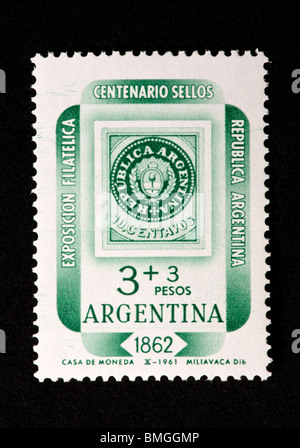 Postage stamp from Argentina depicting a stamp from Argentine1862, for the 1962 International Stamp Exhibition. - Stock Photo