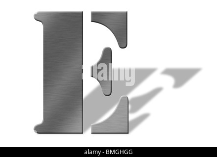 3d aluminum letters of the alphabet isolated with shadow on white numbers also available