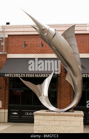 Metal fish statue stock photo royalty free image for Mitchells fish market newport