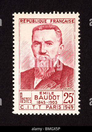 Postage stamp from France depicting Emile Baudot - Stock Photo