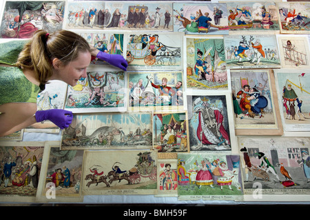 A collection of political cartoons and caricatures from the 1700s and 1800s (18th century and 19th century) at Brighton - Stock Photo
