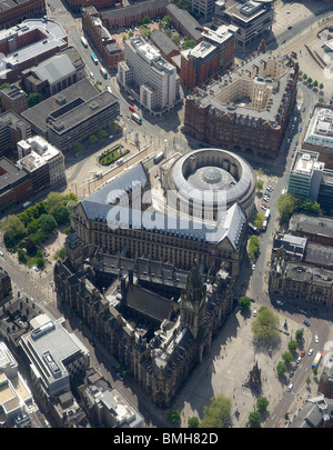 Manchester Town Hall, and Civic area,with the circular Central Library behind, from the Air, North West England - Stock Photo