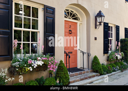 Detail of Door and Windows of the Historic Home in Charleston, South Carolina - Stock Photo