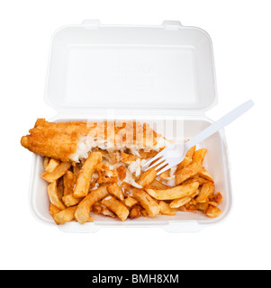 Fish and Chips in a plastic takeaway container half eaten - on white background - Stock Photo