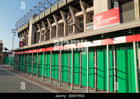 Turnstiles to the West Stand, Twickenham Rugby Stadium, home of English International rugby, in SW London, UK.. - Stock Photo