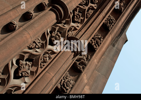 Architecturial detail The John Rylands Library,Deansgate,Manchester,UK.Victorian Gothic by architect Basil Champneys. - Stock Photo