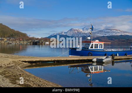 Snow on Ben Lomond, from Luss, Loch Lomond, Scotland. - Stock Photo