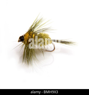 Montana trout fishing fly isolated on a white studio background. - Stock Photo