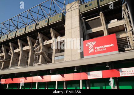 The West Stand of Twickenham Rugby Stadium, home of English International rugby, in south west London, UK.. August - Stock Photo