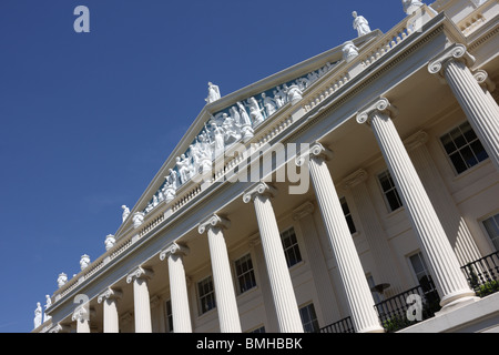 Ionic columns and sculptural Pediment adorn Nash`s beautiful Neoclassical creation of Cumberland Terrace in Regents - Stock Photo