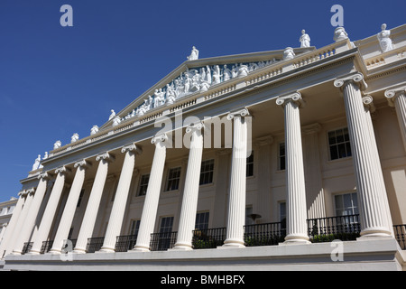 This beautiful building with Ionic columns and sculptural pediment built in the Neoclassical style,designed by John - Stock Photo