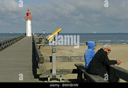 Pier at Trouville sur Mer in the Calvados (14) departement of France - Stock Photo