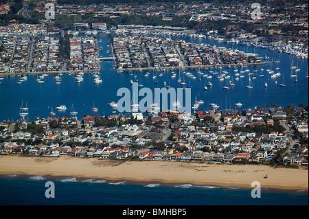 aerial view above Newport Beach Orange County California - Stock Photo