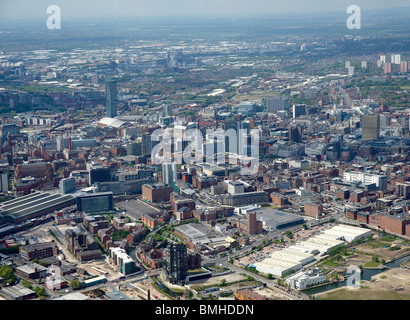 Manchester City Centre from the Air, North West England - Stock Photo