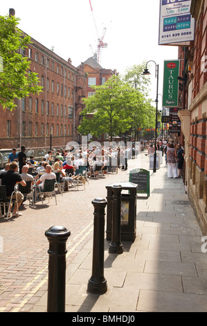 Pavement cafe,s on Canal Street in Gay village Manchester UK - Stock Photo