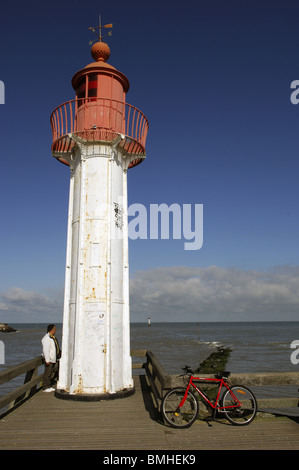 Beacon at end of pier at Trouville sur Mer in the Calvados (14) departement of France - Stock Photo