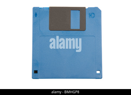 Blue 3.5 inch floppy disc - Stock Photo