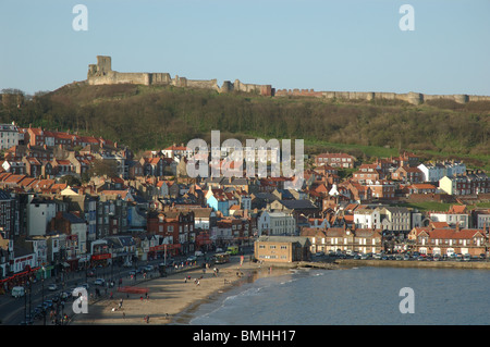 Castle and South Bay, Scarborough, North Yorkshire, England, UK - Stock Photo