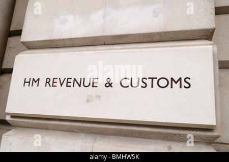 HM Revenue & Customs sign, Whitehall, London, England, UK - Stock Photo
