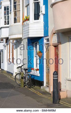 Terraced housing along  Weymouth Harbourside in Dorset, England - Stock Photo